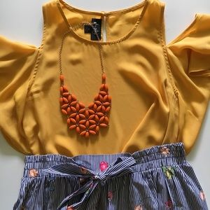 Jewelry - Orange handkerchief statement necklace